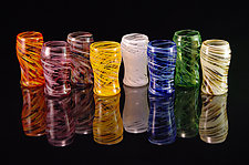 8 Piece Set Multi-Colored Pint Glasses by Corey Silverman (Art Glass Cups)