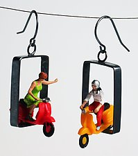 People on Scooters by Kristin Lora (Silver Earrings)
