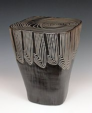 Square Feathers Side Table by Larry Halvorsen (Ceramic Side Table)