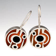 Abstract Lollipop Earrings by Victoria Varga (Silver & Copper Earrings)