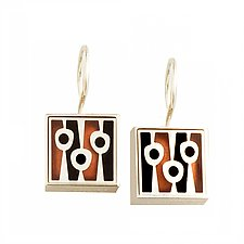 Abstract Square Lollipop Earrings by Victoria Varga (Silver & Copper Earrings)