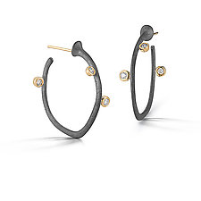 Small Saturn Hoops by Dana Melnick (Gold, Silver & Stone Earrings)