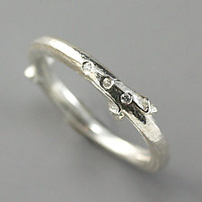 Sterling Lilac Twig Ring with Tiny Diamonds by Sarah Hood (Silver & Stone Ring)