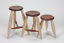T-Rung Stool and Short Stool by David Scott (Wood Stool)