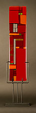 Windows Red by Vicky Kokolski and Meg Branzetti (Art Glass Sculpture)