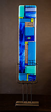 Windows Blue by Vicky Kokolski and Meg Branzetti (Art Glass Sculpture)