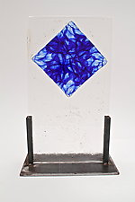Cast Glass Blue Fusing Inclusion by Dierk Van Keppel (Art Glass Sculpture)