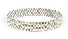 Basketweave Bangle Bracelet by Mackenzie Law (Silver & Steel Bracelet)
