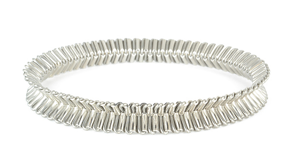 Palladium Ruffle Bangle Bracelet