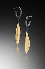 Hoop Earring with Single Golden Leaf by Lori Gottlieb (Gold & Silver Earrings)
