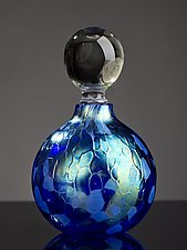Iridescent Blue Sphere Perfume Bottle by Bryce Dimitruk (Art Glass Perfume Bottle)