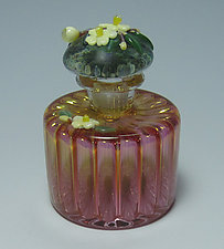 Ribbed Bottle, Yellow Flowers by Chris Pantos (Art Glass Perfume Bottle)