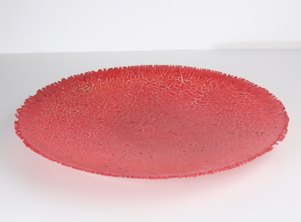 Red Crackle Bowl by Marianne Thompson (Art Glass Bowl)