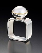 Square Ring: White Mabe by Gabriel Ofiesh (Gold, Silver & Pearl Ring)