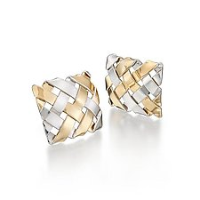 18K on Sterling Hand-Woven Square Earrings by Gabriel Ofiesh (Gold & Silver Earrings)