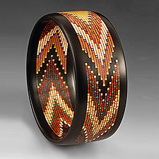 Helical Mosaic Chevron Bracelet by Martha Collins (Wood Bracelet)