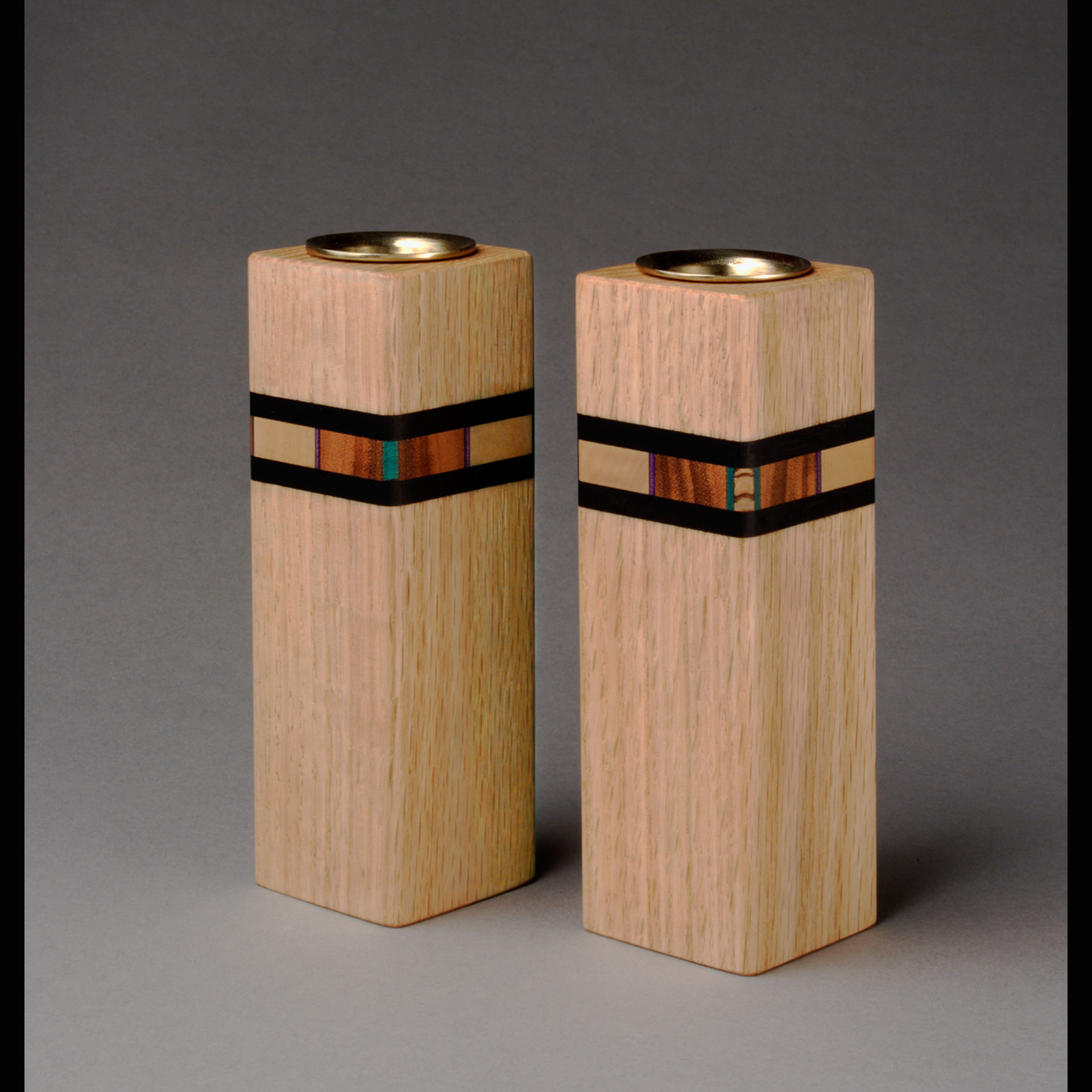 Bold mosaic candleholders by martha collins wood for Candle holders out of wood