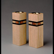 Bold Mosaic Candleholders by Martha Collins (Wood Candleholders)