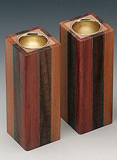3-Stripe Candle Holders by Martha Collins (Wood Candleholders)