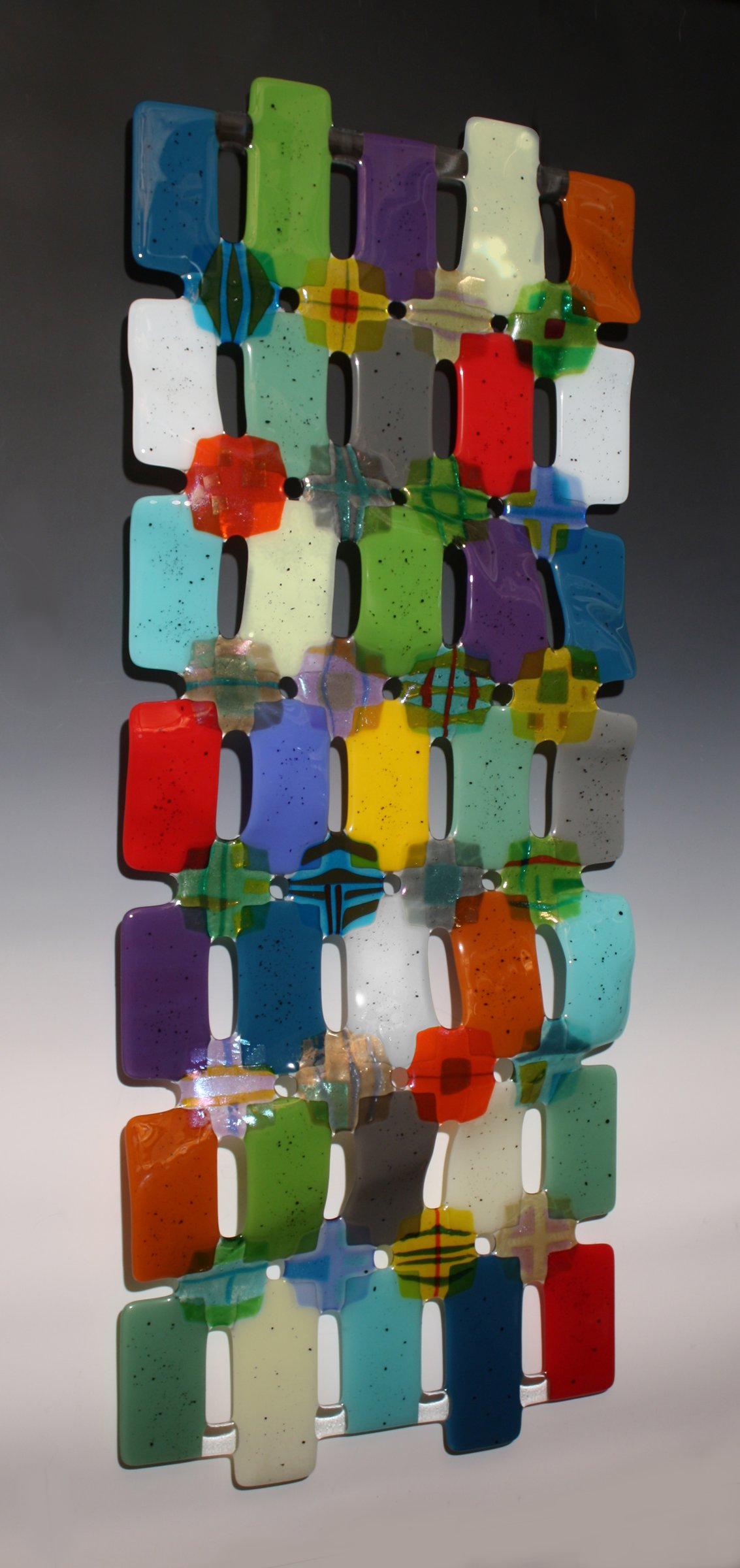 Kaleidoscope by nina cambron art glass wall sculpture for Large glass wall