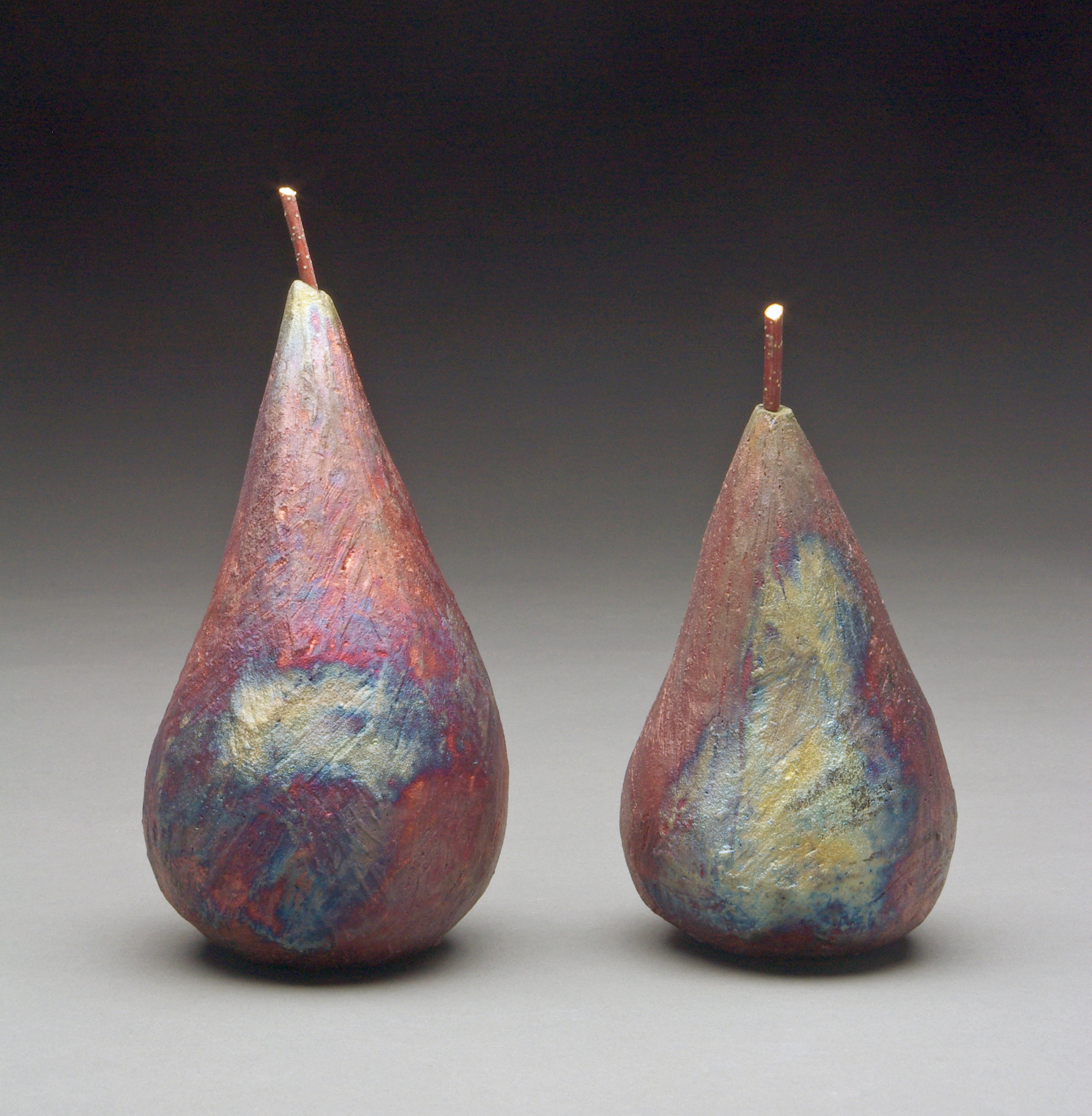 raku pears by mary obodzinski ceramic sculpture artful