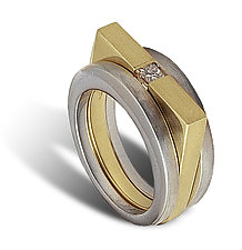 Radius Linear Ring Combination by Claudia Endler (Gold & Stone Ring)