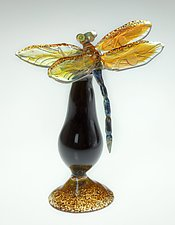 Gold Dragonfly Bottle by Loy Allen (Art Glass Perfume Bottle)