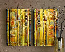 Amber Leaf Panels by Mark Ditzler (Art Glass Wall Sculpture)