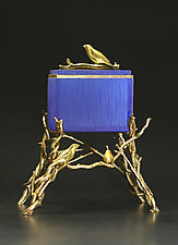 Blue Finch Box by Georgia Pozycinski and Joseph Pozycinski (Art Glass & Bronze Sculpture)