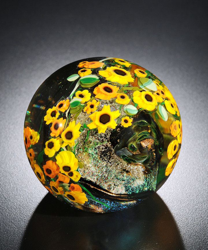 Sunflowers Paperweight By Shawn Messenger Art Glass