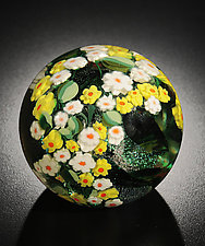 Daisies Paperweight by Shawn Messenger (Art Glass Paperweight)