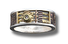 Davenport Rosette Ring 8mm with Diamond and Textured Gold Band by Lynda Bahr (Gold, Silver, & Stone Ring)