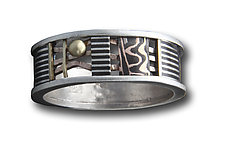Davenport Zoey 8mm Ring with Textured Oxidized Silver Band by Lynda Bahr (Gold & Silver Ring)