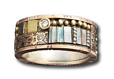 Pink Gold Mosaic Ring by Lynda Bahr (Gold, Silver, & Stone Ring)