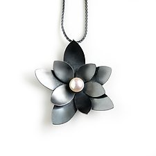Succulent and Pearl by Katie Carder (Silver & Pearl Necklace)