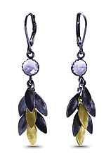 Small Feather Earrings by Jamie Cassavoy (Gold, Silver & Stone Earrings)