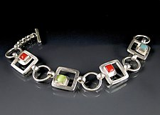 Small Cabs and Cubes Bracelet by Amy Faust (Art Glass Bracelet)