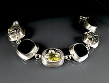 Meadow and Black Glass Bracelet by Amy Faust (Silver, Glass, & Ceramic Bracelet)
