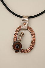 Copper Eye Amulet Pendant by Nancy Worden (Silver, Copper, & Glass Necklace)