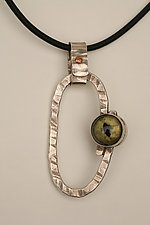 Silver Eye Amulet Pendant by Nancy Worden  (Silver & Glass Necklace)