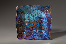 Star Blue Lace Plate by Angelia Hayes (Ceramic Plate)