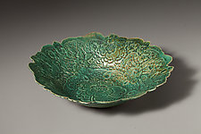 Green Flower Bowl by Angelia Hayes (Ceramic Bowl)