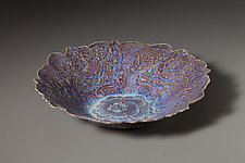 Sun Valley Blue Flower Bowl by Angelia Hayes (Ceramic Bowl)
