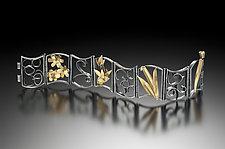 Hinged Bracelet 3 by Lori Gottlieb (Gold, Silver, & Stone Bracelet)