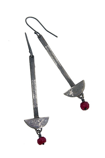 Arrow Earrings with Ruby