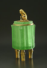 Green Monkey Box by Georgia Pozycinski and Joseph Pozycinski (Art Glass & Bronze Sculpture)