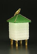 Bird House Box by Georgia Pozycinski and Joseph Pozycinski (Art Glass & Bronze Sculpture)