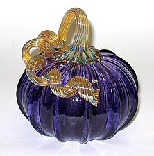 Purple Pumpkin by Ken Hanson and Ingrid Hanson (Art Glass Sculpture)