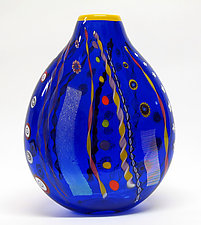 Round Cobalt Abstract vase by Ken Hanson and Ingrid Hanson (Art Glass Vase)