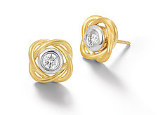 Scribble Infinity Stud Earrings by Dana Melnick (Gold & Stone Earrings)